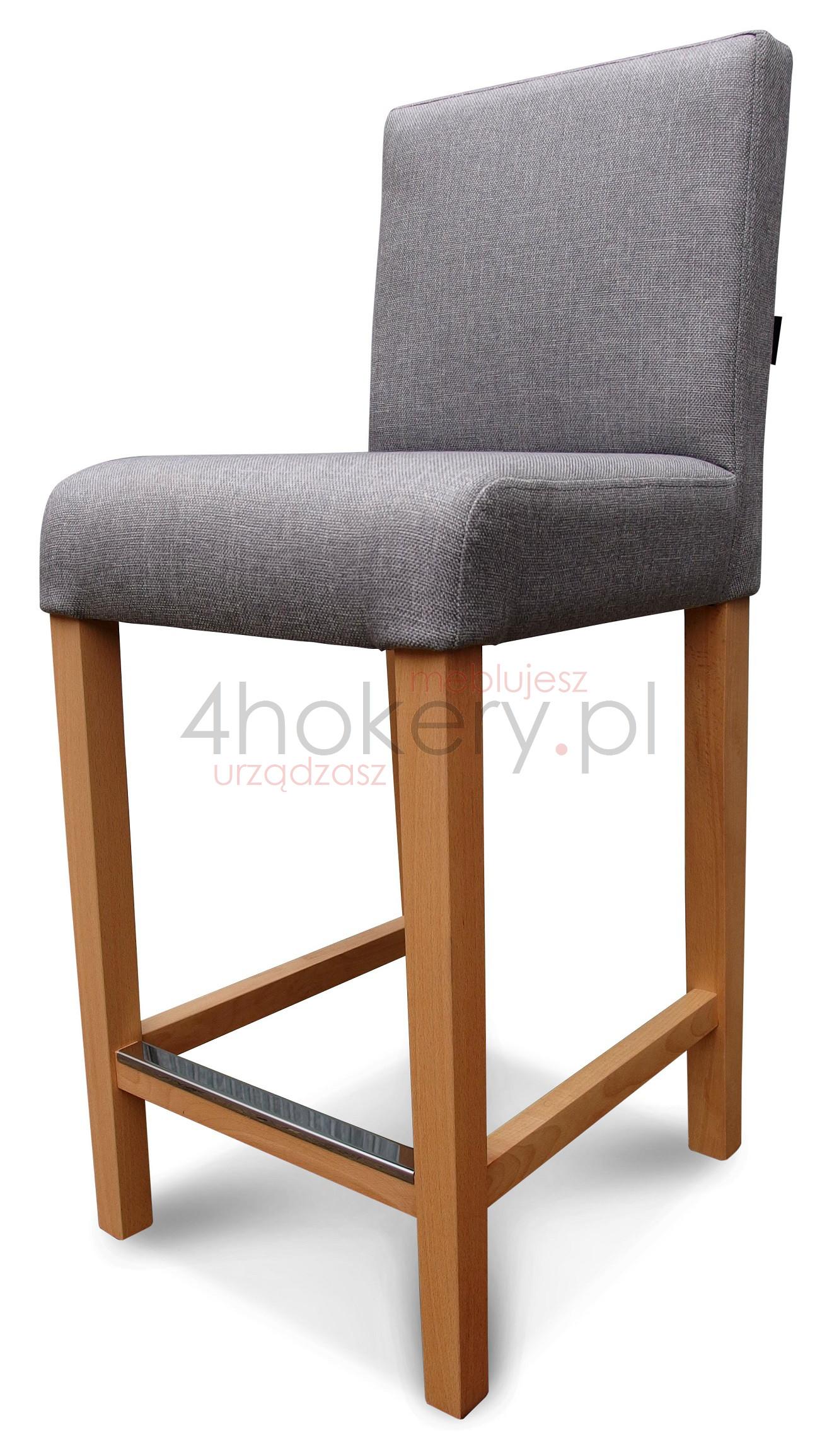 Hoker prosty z oparciem gładki niepikowanym krzesło barowe
