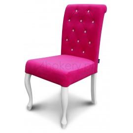 Casablanca róża - krzesło Ludwik  pikowane w karo z kryształkami z wałkiem w oparciu o wys. 98cm od ziemi. Nogi białe.