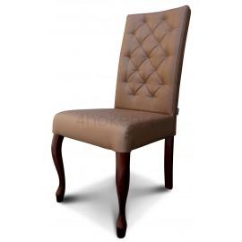 Tabaco - krzesło Ludwik z oparciem pikowanym w karo o wysokości 108cm od ziemi. Nogi ciemny orzech.
