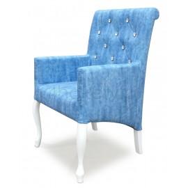 MAX -  krzesło Ludwik  z podłokietnikami skośne, oparcie z wałkiem, przeszywane w karo z cyrkoniami, wysokość 98cm od ziemi.