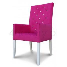 Akropol krzesło / fotel  z podłokietnikami pikowane w karo z kryształkami o wysokości 108cm.