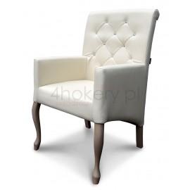 EK-0 - krzesło / fotel Ludwik skośny z wałkiem i podłokietnikami. Oparcie pikowane w karo z kryształkami wysokość 98cm od ziemi.