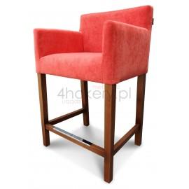 Margo - hoker fotelikowy z wąskim siedziskiem i gładkim oparciem. Wys. siedziska 65cm od ziemi.