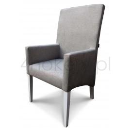 Krzesło / Fotel z podłokietnikami z oparciem gładkim, niepikowanym, profil skośny.