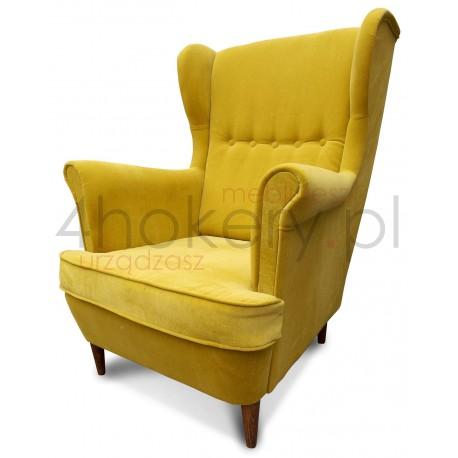 Fotel Aston - wygodny, żółty, piękny fotel uszak