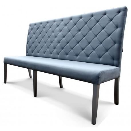 Wysoka ławka bez podłokietników z oparciem pikowanym w karo