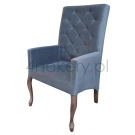 Casa Gray - krzesło / fotel  Ludwik skośny z podłokietnikami pikowane w karo z kryształkami z oparciem 108cm od ziemi