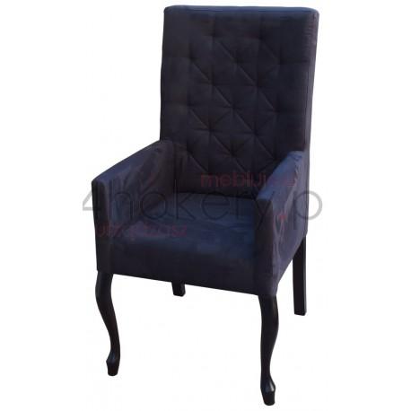 Nubuk Black - krzesło / fotel prosty  z podłokietnikami pikowane w karo  z oparciem 108cm od ziemi