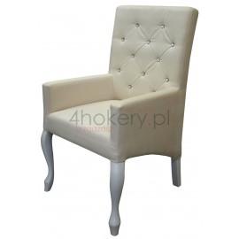 Casablanka Cream - krzesło / fotel Ludwik skośny  z podłokietnikami, oparcie pikowane w karo z kryształkami, wys. 98cm od ziemi