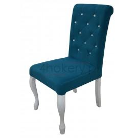 Turkus - Krzesło Ludwik z wałkiem  pikowane w karo z kryształkami. Wys. oparcia 98cm od ziemi