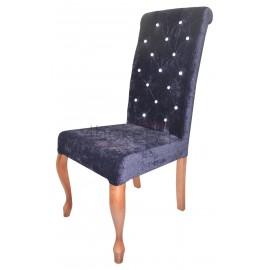 Jaguar - krzesło Ludwik z wałkiem w oparciu, pikowanym w karo z kryształkami  o wysokości 108cm od ziemi.