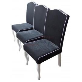 Infiniy Black - krzesło Ludwik z lamówką i oparciem gładkim  o wysokości 98cm od ziemi. Garb w oparciu.