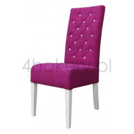 Aston Fuchsja - krzesło grube z oparciem 98cm od ziemi, przeszywanym w karo, pikowanym cyrkoniami.